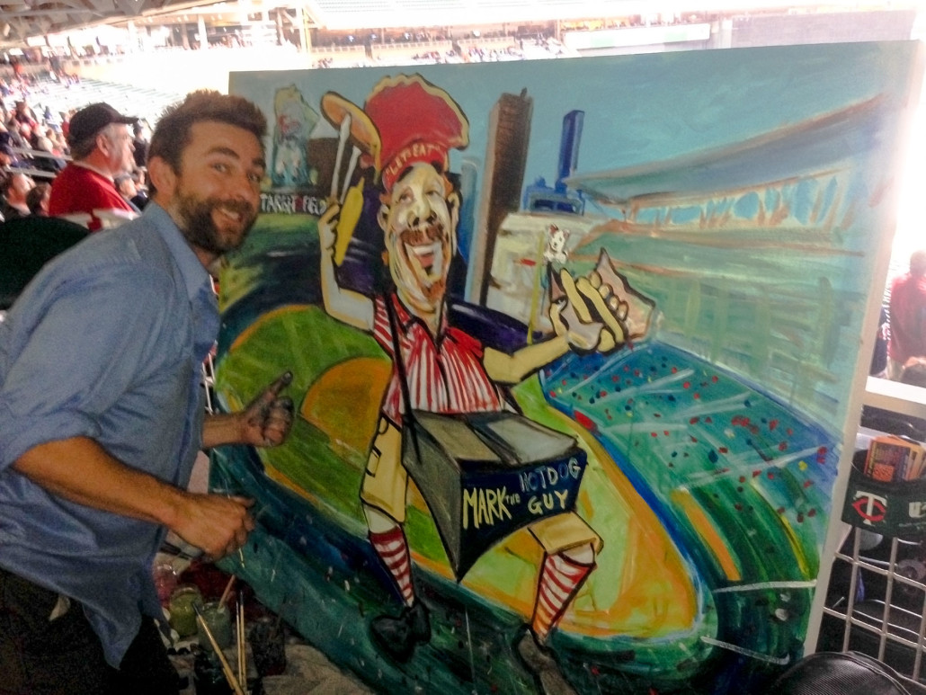Twins Field Hot Dog Vendor Painting